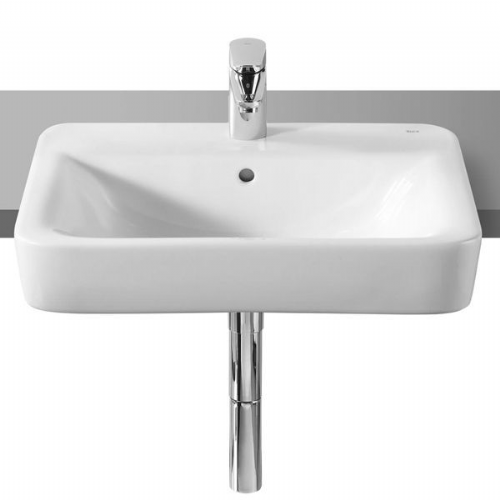 Roca Senso Square Semi-Recessed Basin - 560mm - 1 Tap Hole - White
